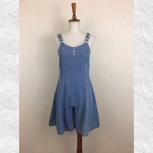 Vintage 80's 90's Cotton Jean Sleeveless Romper
